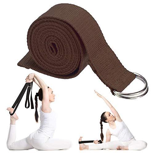 Correa de yoga para estiramiento, correas de ejercicio de algodón duradero con hebilla de anilla en D ajustable, mejora la flexibilidad y fuerza cinturón de yoga con cierre de metal, banda de yoga, correa elástica de yoga, Marrón