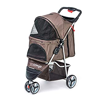 comiga Pet Stroller, 3-Wheel Cat Stroller, Foldable Dog Stroller with Removable Liner and Storage Basket, for Small-Medium Pet,Coffee 20