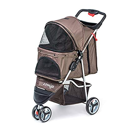 comiga Pet Stroller, 3-Wheel Cat Stroller, Foldable Dog Stroller with Removable Liner and Storage Basket, for Small-Medium Pet,Coffee 1