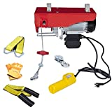 AC-DK 880 lbs Lift Electric Hoist with Crane Remote Control Power System, 110V Overhead Crane Garage Ceiling Pulley Winch, Zinc-Plated Steel Wire and w/Straps (w/Emergency Stop Switch)