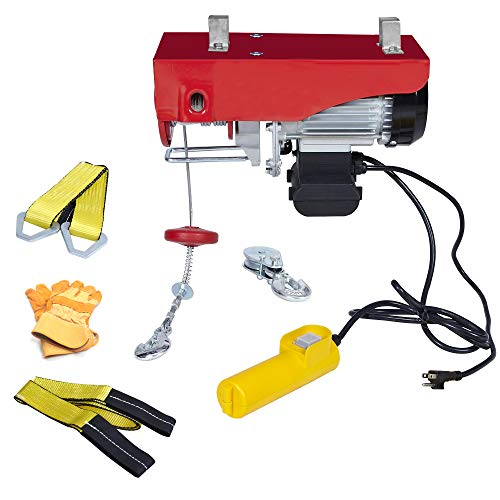 AC-DK 110V Electric Winch 880 lb Crane Lift Garage Electric Hoist Ceiling Pulley Winch with Steel Wire Rope Emergency Stop Control Switch Safety Operation Gloves and Lifting Straps