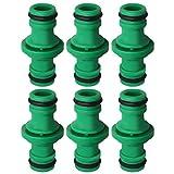 nuoshen 6 Stücke Doppel Stecker Schlauchverbinder, Grün Gartenschlauch Kupplung für Autowäsche und Gartenschlauch Rohr Verbinden