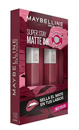 Maybelline New York, SuperStay Matte Ink, Cofre 2 Pintalabios Permanentes Líquidos de Larga Duración, Efecto Mate, Maquillajes Labiales, Tono15 Lover - 2 Unidades, 10 ml