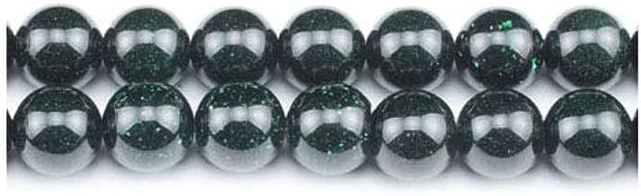 Packet 12 x Green Goldstone 4mm Plain Round Beads VP2275 (Charming Beads)
