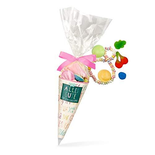 Zuckertüte Einschulung Rosa, süße Schultüte mit einer bunten Süßigkeiten-Mischung, 120 Gramm, Geschenkidee für Schulanfänger