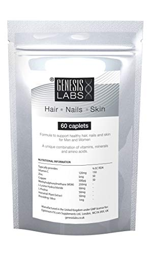 Hair Growth Nails Skin Tablets Supplement High Strength Vitamins for Men and Women Contains Vitamin C Zinc Copper (Minerals) L-Lysine L-Proline (Amino Acids) MSM Silica - 60 Caplets 2 Month Supply