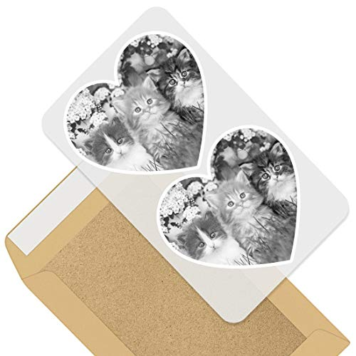 Awesome 2 x Heart Stickers 7.5 cm - BW - Gorgeous Kittens Garden Cats Animals Fun Decals for Laptops,Tablets,Luggage,Scrap Booking,Fridges,Cool Gift #41343
