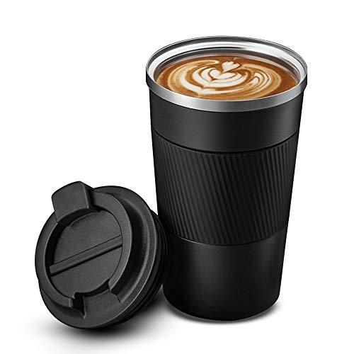 MGRETT Vaso térmico de 380 ml, taza de café para llevar, de acero inoxidable, para viajes, a prueba de fugas, doble pared, aislado al vacío, con tapa