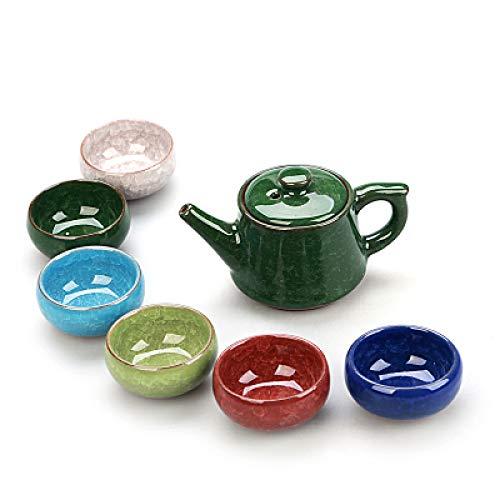 QCCOKNN Juego de té de cerámica Crackle Glaze, juego de té de cerámica, taza de té Kung fu, juego de café