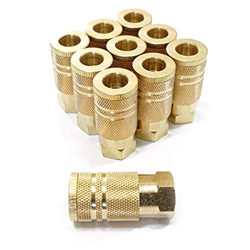 Tanya Hardware Female NPT Coupler Industrial 1/4 Inch, Brass, Quick Connect Air Fittings, Pack of 10