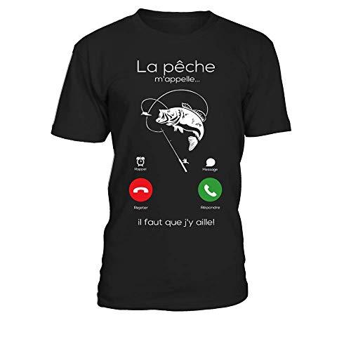 TEEZILY T-Shirt Homme La pêche mappelle, il Faut Que jy aille - Noir - M