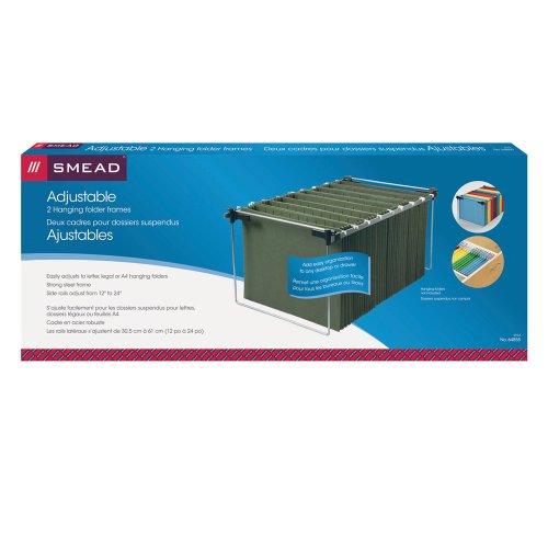 Smead Hängeregistratur-Rahmen, verstellbarer Brief/Legal/A4, grau, 2 Stück pro Packung (64855)