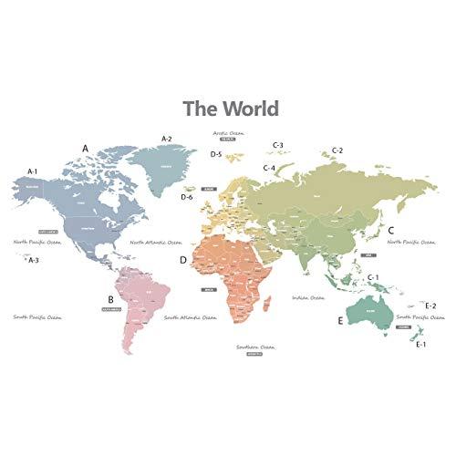 DECOWALL DWL-1809XS Mappa del Mondo Moderno Toni Pastello (Medio)(Ver. Inglese) Adesivi da Parete Decorazioni Stickers Murali Soggiorno Asilo Nido Camera Letto per Bambini decalcomanie