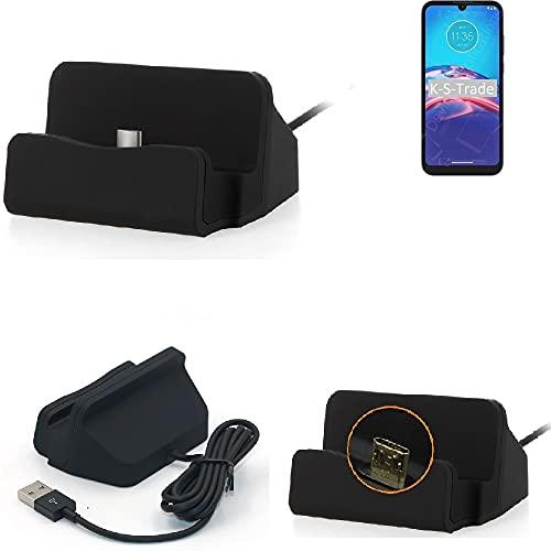 K-S-Trade Docking station compatibile con Motorola Moto E6i Docking Station Micro USB da tavolo Caricatore Dock Charger con cavo per la ricarica e la sincronizzazione, nero