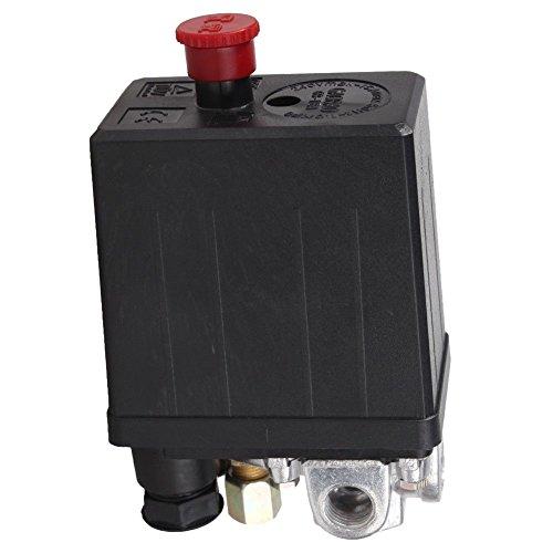 SODIAL(R) - Válvula de control de presostato de compresor de aire de servicio (90 Psi -120 PSI), color negro