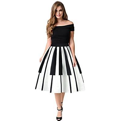Sinma Women Casual Piano Keys Print Pattern Mini Knee Length Skater Skirt