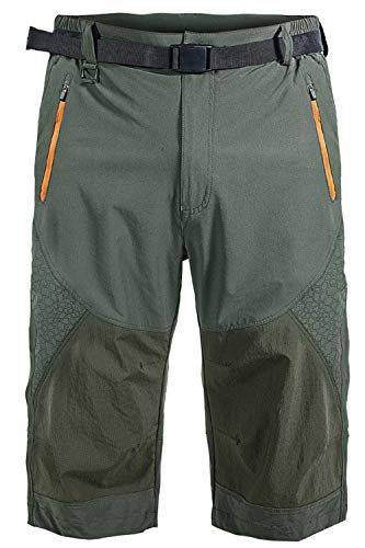Mr.Stream Men's Classic Bermuda Beach Capri 3/4 Cropped Sweatpants Camping Quick Drying Casual Shorts S Green