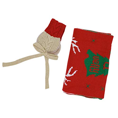 KESYOO 2Pcs Kids Christmas Scarf Ear Muffs Set Xmas Tree Reindeer Pattern Winter Warm Scarf Knitted Plush Earmuff Ear Warmer Christmas Costume for Kids Children