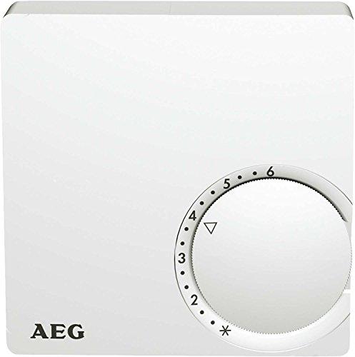 AEG Haustechnik 223297 Temperatur-Regler RT 600, 2-Punkt, Temperatureinstellung von 5-30 °C, Aufputz, Kontrolllampe, Reinweiß, weiß