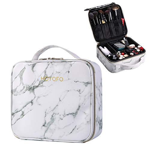 HOYOFO Marble Makeup Travel Case with Adjustable Dividers Large Makeup Organizer Train Case for Women Portable Cosmetic Storage Bag With Brush Holders, White