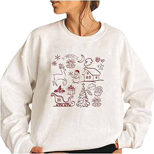 Womens Crewneck Long Sleeve Sweatshirt Print Christmas Shirt Fleece Warm Pullover Casual Loose Fit Tops
