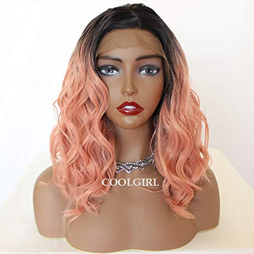 Missyvan Short Wavy synthetic Lace Front Wigs Pink Short Bob Wavy Lace Front Wigs for White Women ombre Dark Roots a misti rosa Glueless parrucca capelli sintetici resistenti divisione centrale