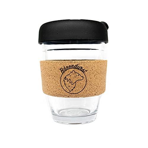 Bärendurst® Kaffeebecher to go Glas 340ml, Travel Mug, Coffee to go Becher, Kaffeebecher mit Silikondeckel