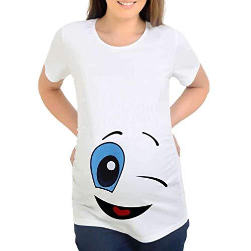 Maternité D Été Maternité T Shirt À Courtes Vêtements Manches Maternité Mignon De Bande Dessinée Impression Tee Blusa Femmes Enceintes De Base en Coton De Maternité Tops (Color : Smile, Size : M)