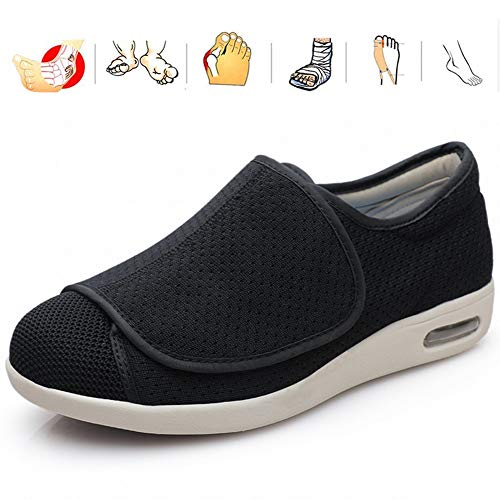 KRILY Zapatillas Anchas para Hombre Calzado De Fascitis Plantar Calzado De Edema Zapatos de Ajustables para Ancianos para Pies Hinchados Ancianos Diabéticos Edema Pies Anchos,Negro,43