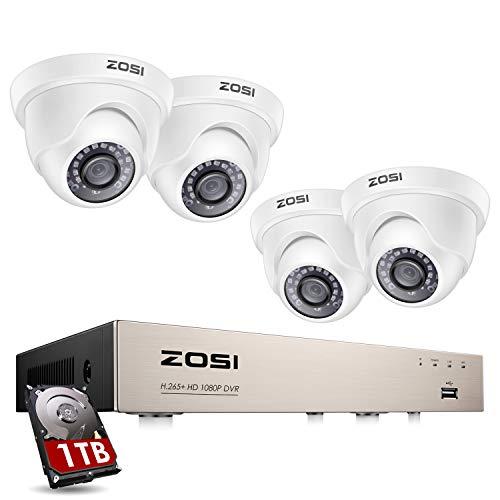 ZOSI Sistema de Seguridad 1080P CCTV Kit de Cámara Vigilancia 4CH 2MP Grabador DVR + (4) Cámara Impermeable en Domo + 1TB Disco Duro, Acceso Remoto, Detección de Movimiento