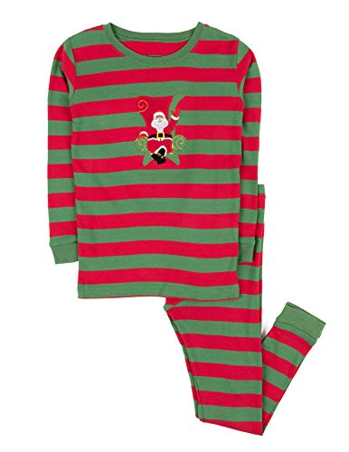 Leveret Kids Pajamas Santa Red Green 2 Piece Christmas Pjs Set 100% Cotton 8 Years