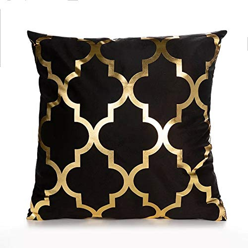 HPX Home Excellent Black Super Soft Bronzing Pillow Throw Pillow for Bed Couch Sofa Cushion Covers Set Office Decor, Set of 2,18x18 inch (45cm) (TJD02_1)