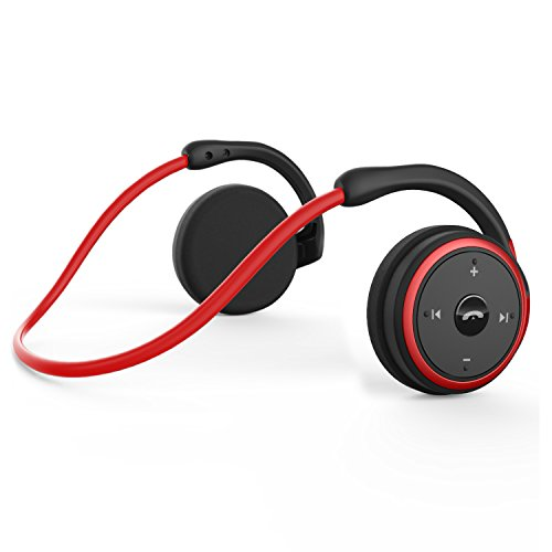 KAMTRON Bluetooth Wireless Kopfhörer Sport - Marathon2 Bluetooth 4.2 Kopfhörer mit Clear Voice Capture Technologie und Echo Cancellation Mikrofon für Gym, Sport, Running, Work, Rot