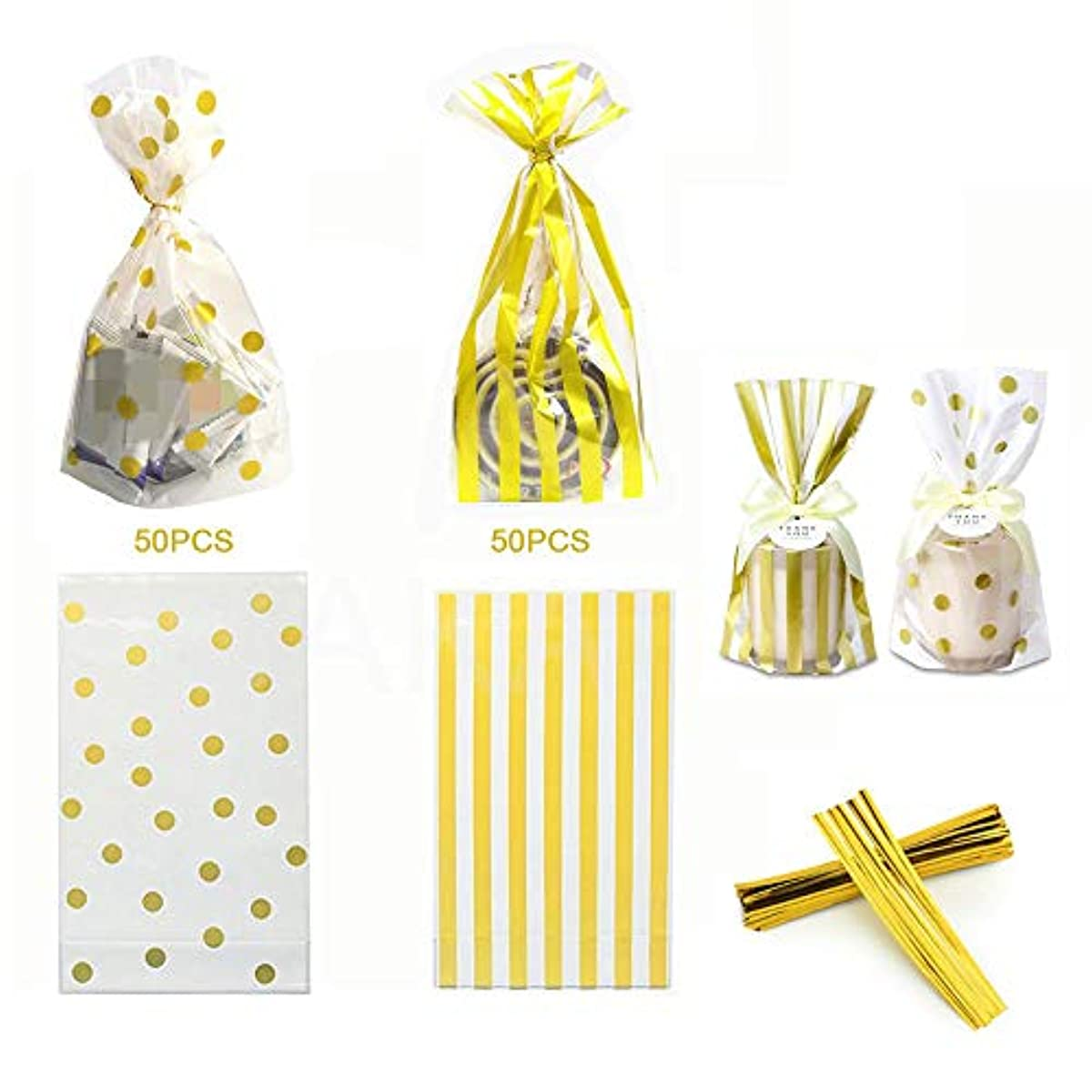 100 Pack Clear Cello Bags with Candy Cookie Bags 10 x 6 x 2.5 inch Clear Plastic Treat Bags Gold Polka Dot and Gold Stripe Candy Bags for Cookie Candy Snack Wrapping Party Favor with Gold Twist Ties