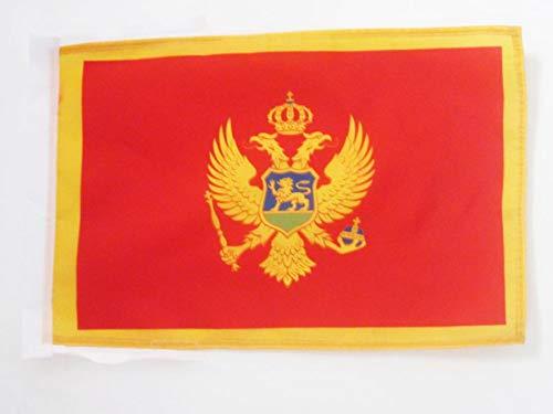 AZ FLAG Flagge Montenegro 45x30cm mit Kordel - MONTENEGRINISCHE Fahne 30 x 45 cm - flaggen Top Qualität