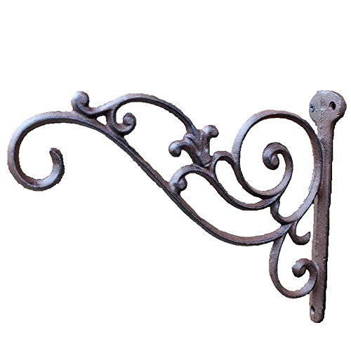 Belleashy Hanging Brackets Gusseisen Korb Wandbehang Pflanze Haken-Aufhänger Retro Outdoor Indoor-Gartenhaken Décor (Color : As Shown, Size : 26.4x20.3cm)