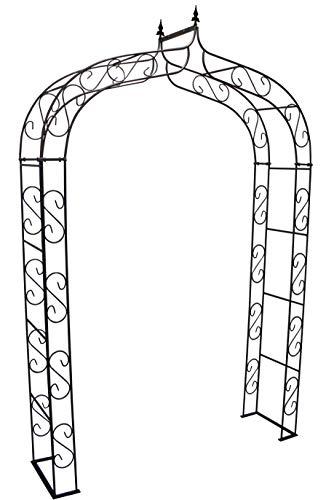 terracotta24 Rosenbogen aus Metall stabil mit Spitze, aus Vollmaterial mit Edelrost, Rankgitter Breite 140cm Höhe 245cm Tiefe 40cm, incl. 4X Bodenanker