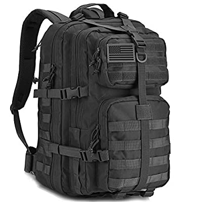 REEBOW GEAR Military Tactical Backpack Large Army 3 Day Assault Pack Molle Bug Bag Backpacks Rucksacks for Outdoor Sport Hiking Camping Hunting 40L Black