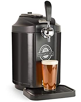 Homecraft Black Stainless Steel Easy-Dispensing Tap Mini Kegerator Cooling System Includes Reusable Growler CO2 Cartridges Removable Drip Tray & Cleaning Kit Beer Fresh For 30 Days 5-liter