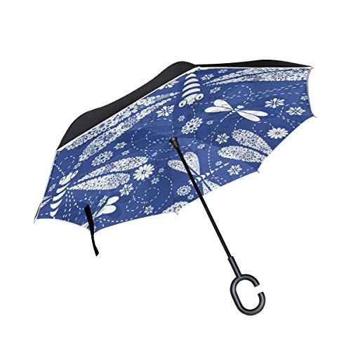 Rode blauw met dubbele laag paraplu, winddicht, greep in C-vorm.