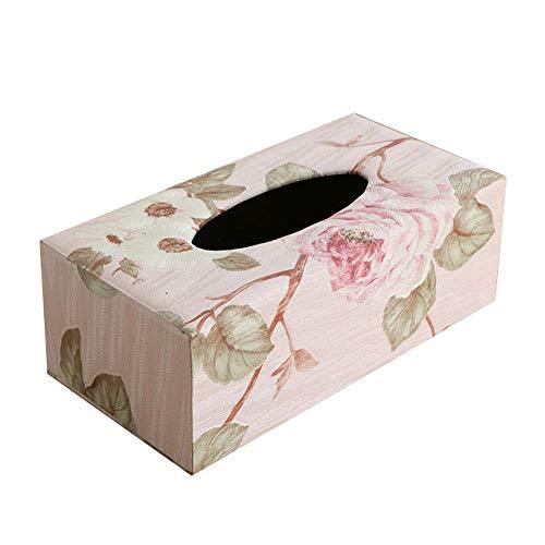JUNGEN Caja de pañuelos de Madera Caja de Tejido Rectangular con Elegante Rosa patrón Portapañuelos de Papel para Escritorio Cocina Dormitorio Oficina Comedor Estilo nórdico Vintage (Rosa Rosada)