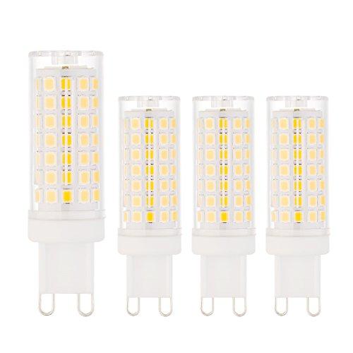 4 Pack LED-Leuchtmittel mit G9-Fassung,8W, 3000K (warmweiß), 600-700lm, Ersatz für 70W Halogenlampen, AC 200-240V,nicht dimmbar