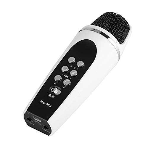 Mini microfono Cambia voce, Microfono portatile da 3,5 mm, 4 modalità di conversione vocale, Funzione cuffia restituisce la voce in tempo reale, Microfono a condensatore professionale per IOS Androi