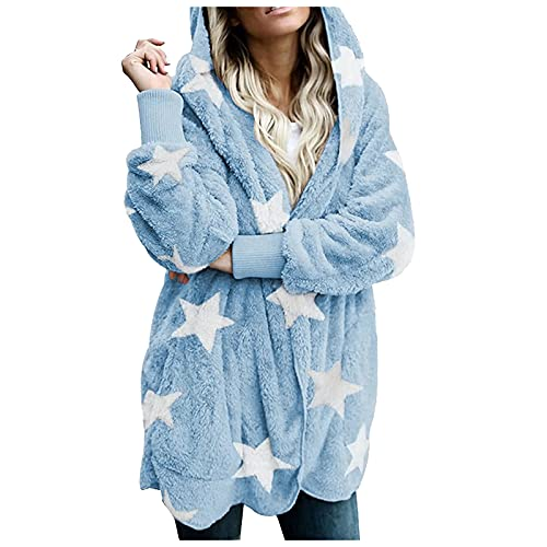 Vexiangni Chaqueta de felpa para mujer, abrigo de invierno, chaqueta de punto, chaqueta con capucha, chaqueta con bolsillos, chaqueta de invierno para mujer, chaqueta de invierno grande, azul, XXL