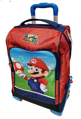 Schulrucksack Trolley Super Mario mit Pilz Version Deluxe Reise + Gratis Pfeife + Gratis Farbstift