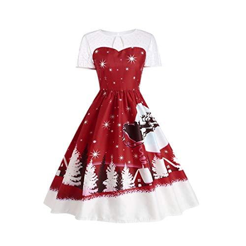 LoveLeiter Damen Weihnachten Kleid Frauen Abendkleid Vintage Weihnachtsfeier Dress Ballkleid Partykleid Women Christmas Womens Sweatshirt Bluse Pullover Prinzessin Plus Size Kleid(Wein, M)