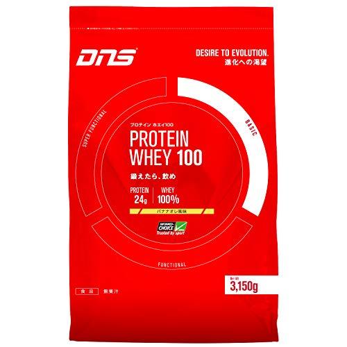 DNS ホエイプロテイン ホエイ100 バナナオレ風味 3150g (約90回分) 水で飲める プロテイン WPC ホエイたんぱく質 筋トレ 大容量 1 袋