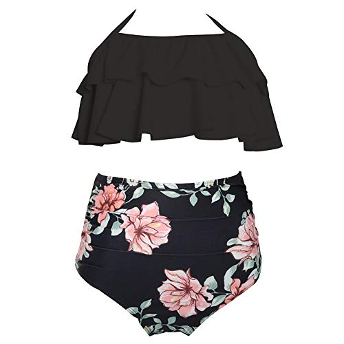 LPATTERN Mädchen Zweiteilige Bikini Set Retro Bademode Vintage Geteilter Badeanzug High Waist Badebekleidung mit Blumenmuster(Oberteil+ Höschen),Schwarz+ Rosa Blumen auf Schwarz,152(8-12 Jahre)