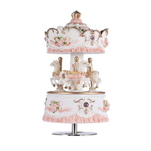 TcooLPE 3-Horse Carrousel Muziekbox Creative Artware/Gift Melodie Castle in The Sky roze/paars/blauw/goud schaduw voor optie Rose