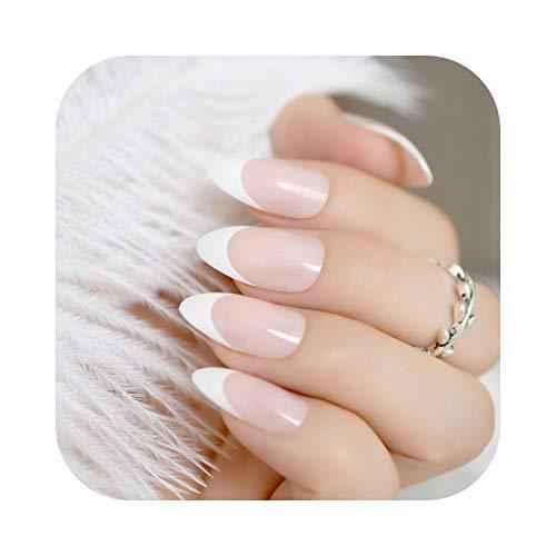 Pegatinas de couleur de uñas 24 piezas Clásico Rosa claro Clavo francés puntiagudo Diseño simple Punta blanca Uñas de gel UV Uñas planas con etiqueta adhesiva Z939-Z872-